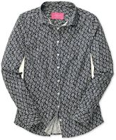 Charles Tyrwhitt Women's Semi-Fitted Dark Blue Brushstroke Print Cotton Casual Shirt Size 2