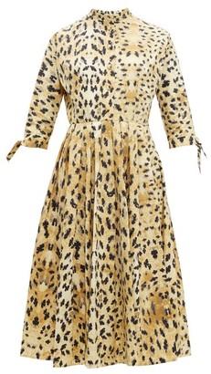 Prada Band Collar Watercolour Print Cotton Midi Dress - Womens - Beige Multi