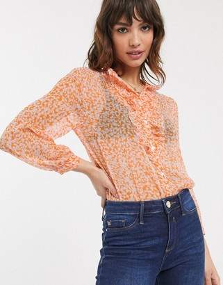 French Connection ruffle neck ditsy floral print blouse