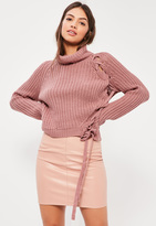 Missguided Pink Chunky Turtle Neck Lace Up Sweater