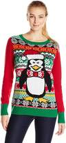 Ugly Christmas Sweater Women's Penguin LIGHT-UP Crew Pullover Sweater