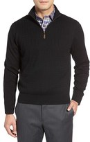 David Donahue Cable Knit Silk Blend Quarter Zip Sweater