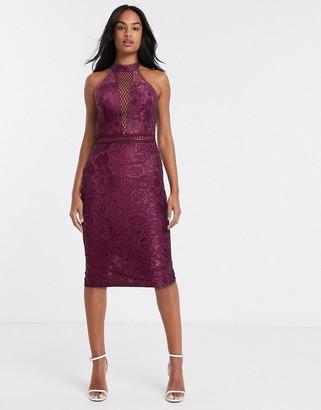 AX Paris plunge lace midi dress in burgundy