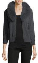 Milly Fox Fur-Collar Wool Cardigan