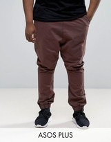 Asos Plus Drop Crotch Woven Jogger In Brown