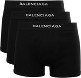 Balenciaga Three-Pack Ribbed Cotton Boxer Briefs