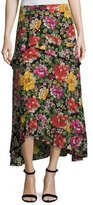 Etro Floral-Embroidered High-Low Midi Skirt, Black Multi