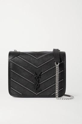 Saint Laurent Niki Mini Studded Quilted Textured-leather Shoulder Bag - Black