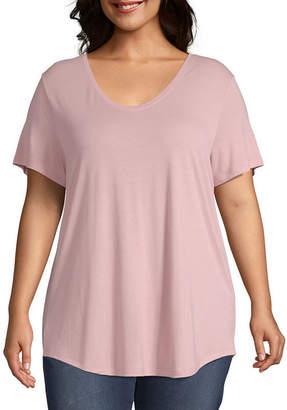 A.N.A Plus-Womens Scoop Neck Short Sleeve T-Shirt