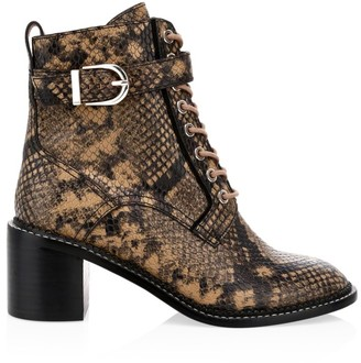 Joie Raster Block-Heel Python-Embossed Leather Combat Boots