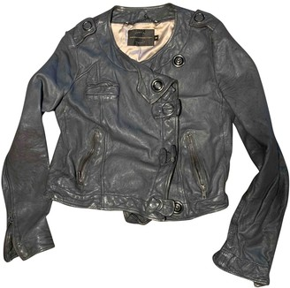 French Connection Grey Leather Leather Jacket for Women