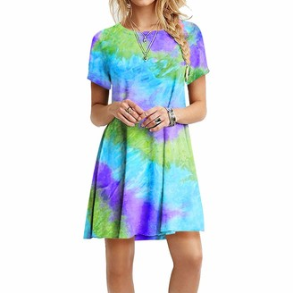 Canifon Tie-dye Printing Women's Mini Dress Round Neck Short Sleeve High Waist Swing Skirt A-Line Pleated Stretch for Beach Summer