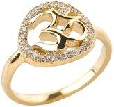 Hindu Pendants Fine 10k Yellow Gold Diamond Halo Om Ring (Size 10)