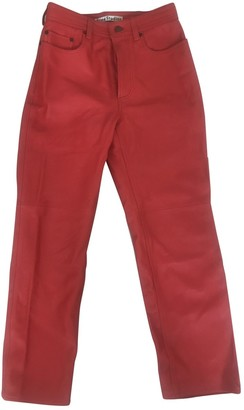 Acne Studios Red Leather Trousers