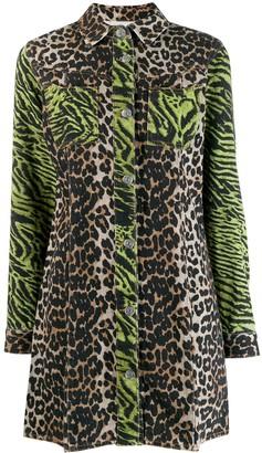 Ganni Animal-Print Shirt Dress