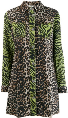 Ganni animal print shirt dress