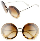 Miu Miu Women's 64Mm Round Sunglasses - Light Havana