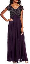 J Kara V-Neck Beaded Top Bodice Column Gown