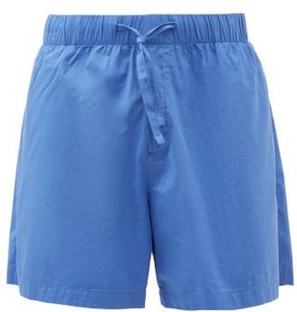Tekla - Drawstring-waist Cotton-poplin Pyjama Shorts - Blue