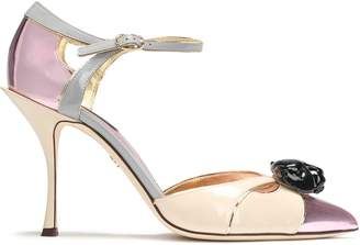 Dolce & Gabbana Embellished Color-block Patent And Mirrored-leather Pumps