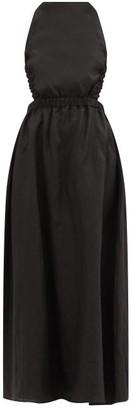Sir. Alena Crossover-back Linen Maxi Dress - Black