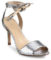 Loeffler Randall Elyse Metallic Snake-Embossed Leather Peep Toe Ankle-Wrap Sandals