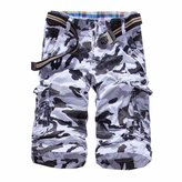 QIYUN.Z Men Camo Camouflage Combat Casual Pants Overall Cargo Sports Army Shorts Short