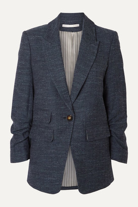 Veronica Beard Martel Dickey Herringbone Wool, Cotton And Linen-blend Blazer - Navy