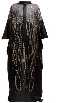Haider Ackermann Floral-embroidered Silk-blend Kimono-style Coat - Womens - Black Gold