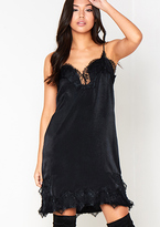 Missy Empire Kiko Black Satin Lace Slip Dress