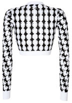 Just Cavalli Cotton Intarsia Knit Cropped Pullover