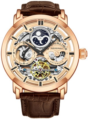 Stuhrling Original Men's Anatol Rosetone Stainless Skeleton Watch