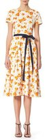 Carolina Herrera Butterfly-Print Midi Dress with Belt, Multicolor