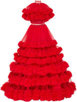 Christian Siriano Cascading Tulle Caplet Gown
