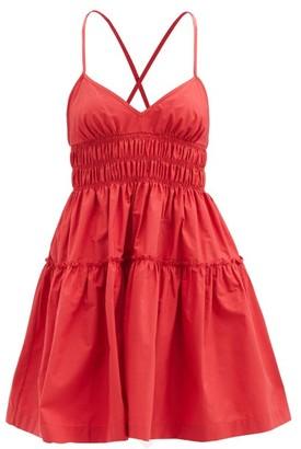 Three Graces London Mia Shirred Cotton Mini Dress - Red