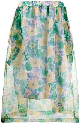 Plan C Sheer Floral-Print Skirt