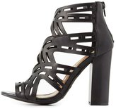 Charlotte Russe Bamboo Laser Cut Chunky Heel Sandals