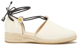 Fabrizio Viti - Margarita Daisy-appliqued Canvas Espadrilles - Womens - White
