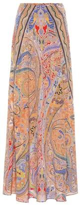 Etro Printed silk-crApe maxi skirt