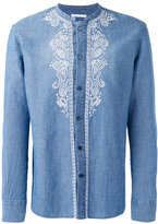 Ermanno Scervino collarless embroidered panel shirt - men - Cotton/Linen/Flax - 48