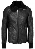 Rick Owens Black Shearling-lined Leather Jacket