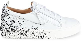 Giuseppe Zanotti Men's Birel Leather Flocked Low-Top Sneakers