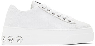 Miu Miu White Crystal Crackle Platform Sneakers