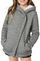 O'Neill Girl's Tally Asymmetrical Zip Hoodie With Faux Shearling Lining
