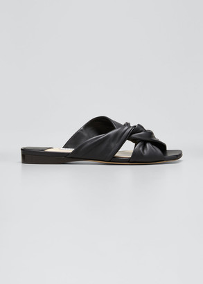 Jimmy Choo Narisa Knotted Leather Flat Sandals