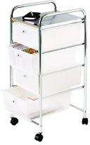 Camilla And Marc Premier Housewares 4 Drawer Storage Trolley with Chrome Frame - 79 x 39 x 33 cm - White
