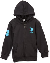 U.S. Polo Assn. Black & Turquoise Zip-Up Hoodie - Toddler & Boys