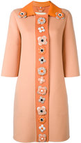 Fendi single breasted embellished coat - women - Lamb Skin/Cashmere/plastic - 38