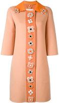 Fendi single breasted embellished coat - women - Lamb Skin/Cashmere/plastic - 44