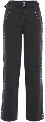 Current/Elliott Debbie Studded High-rise Straight-leg Jeans